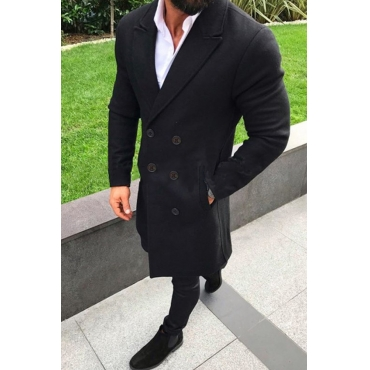 Lovely Casual Turndown Collar Buttons Black Coat