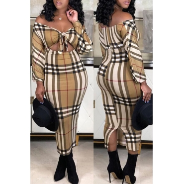 Lovely Chic Plaid Print Multicolor Ankle Length Dress