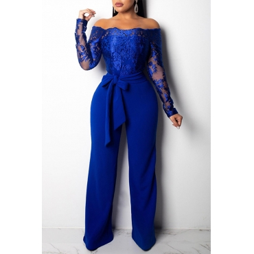 Lovely Casual Patchwork Dark Blue One-piece Jumpsuit