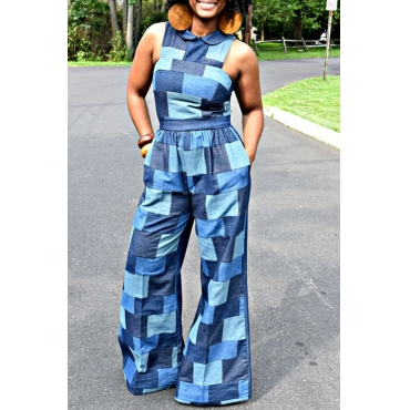 Lovely Casual Color-lump Patchwork Blue One-piece Jumpsuit