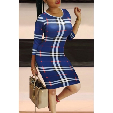 Lovely Casual Plaid Print Blue Knee Length Dress