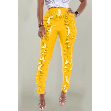 Lovely Trendy Flounce Design Yellow Pants