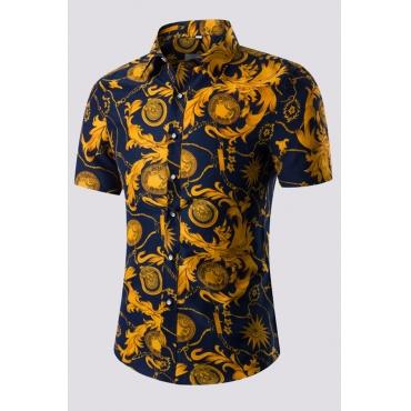 Lovely Chic Ptint Navy Blue Shirt