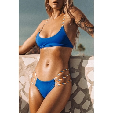 Lovely Print Hollow-out Blue Two-piece Swimwear