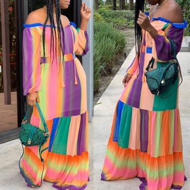 Lovely Bohemian Print Patchwork Multicolor Maxi Dress