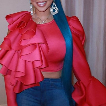 Lovely Sweet Flounce Design Red Blouse