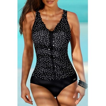Lovely Patchwork Black One-piece Swimsuit