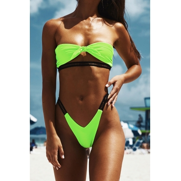 Lovely High-Leg Green Two-piece Swimwear