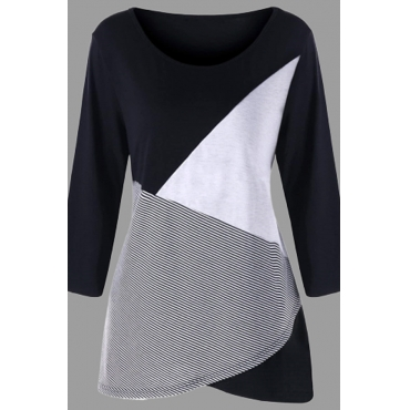 Lovely Casual Patchwork Black Plus Size T-shirt