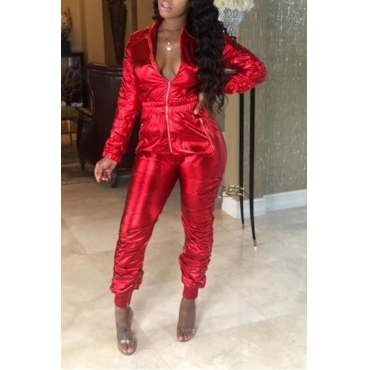 Lovely Leisure Zipper Design Red One-piece Jumpsuit