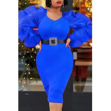 Lovely Sweet V Neck Patchwork Blue Knee Length Prom Dress