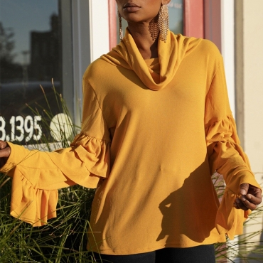Lovely Trendy Flounce Yellow Blouse