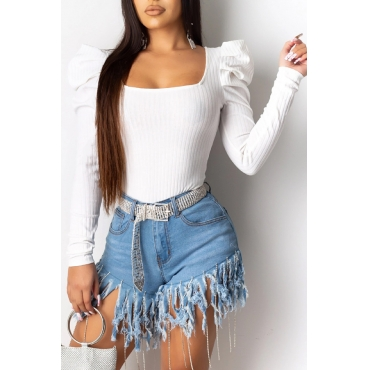 Lovely Casual U Neck White Blouse
