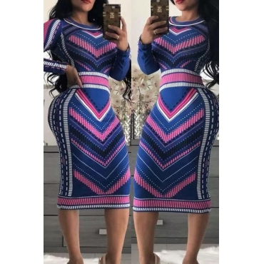 Lovely Chic Print Multicolor Mid Calf Dress