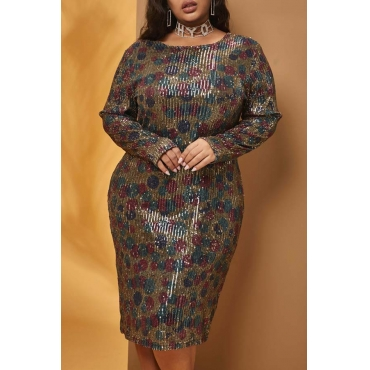 Lovely Casual O Neck Sequin Multicolor Knee Length Plus Size Dress