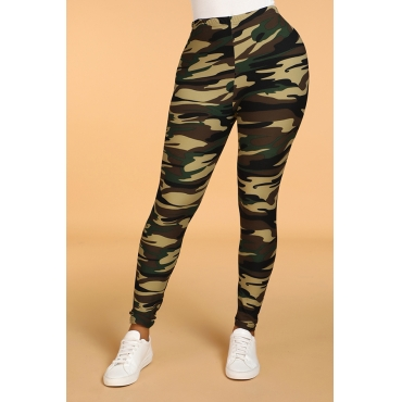 Lovely Casual Camo Print Skinny Army Green Leggings