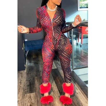 Lovely Chic Print Skinny Red One-piece Jumpsuit