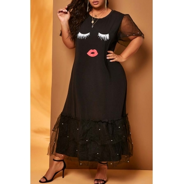 Lovely Casual Patchwork Black Mid Calf Plus Size Dress