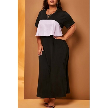 Lovely Chic Flounce Design Black Ankle Length Plus Size Dress