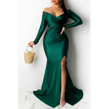 Lovely Party V Neck Side Slit Green Trailing Prom Dress