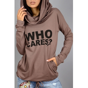 Lovely Casual Hooded Collar Letter Print Khaki Hoodie