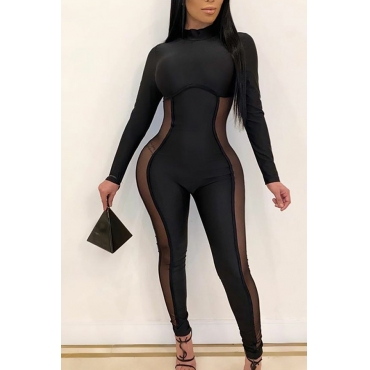 Lovely Sexy Patchwork Black One-piece Jumpsuit