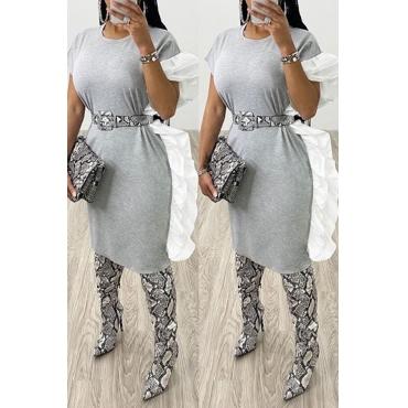 Lovely Sweet Basic Grey Knee Length Dress