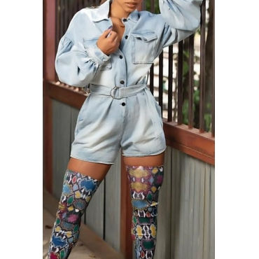 Lovely Leisure Button Blue One-piece Romper