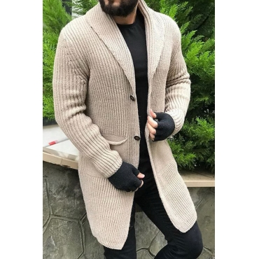 Lovely Casual Buttons Beige Sweater