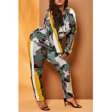 Lovely Casual Camo Green Plus Size Two-piece Pants Set