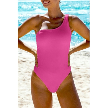 Lovely One Shoulder Rose Red One-piece Swimsuit