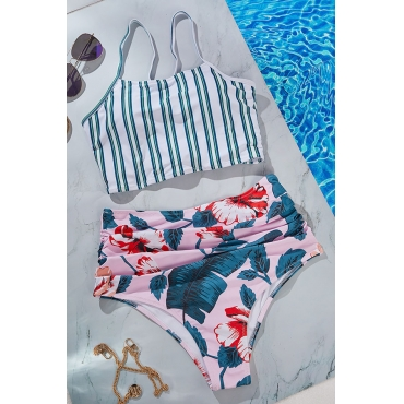 Lovely Striped Green Two-piece Swimsuit