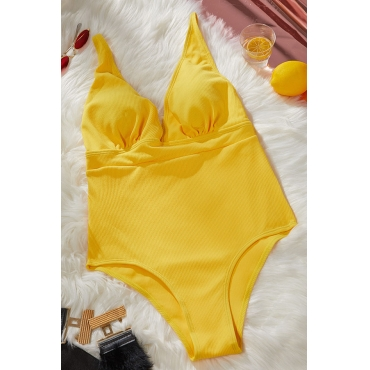 Lovely Ruffle Design Yellow One-piece Swimsuit