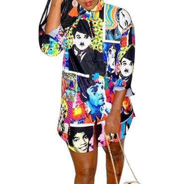 Lovely Casual Print Multicolor Mini Dress