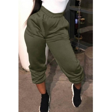 Lovely Casual High Elastic Waist Army Green Pants