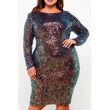 Lovely Casual O Neck Multicolor Knee Length Plus Size Dress