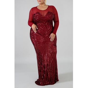 Lovely Casual See-through Red Plus Size Maxi Dress