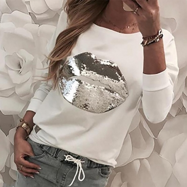 Lovely Casual Lip White Sweatshirt Hoodie