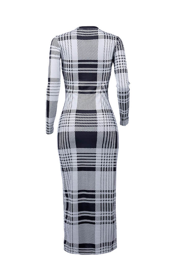 Lovely Trendy Grid Printed Black Ankle Length Dress