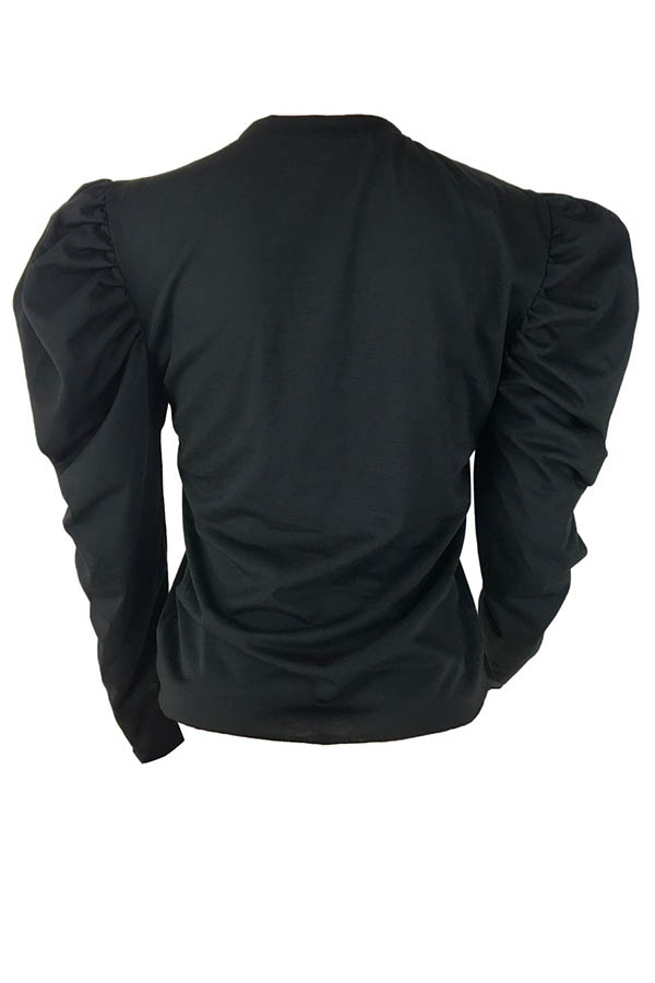 Lovely Casual Ruffle Design Black Blouse