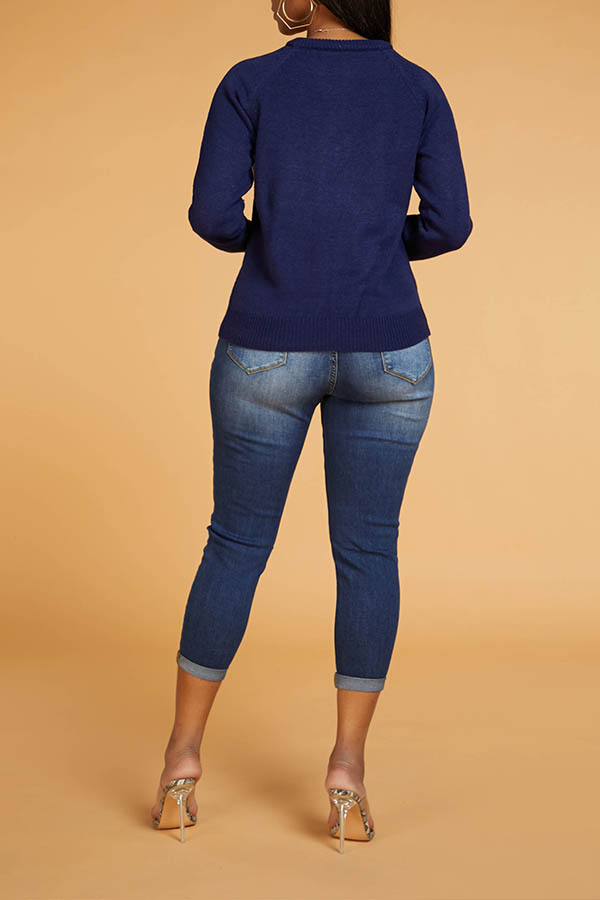 Lovely Leisure Heart Deep Blue Sweater