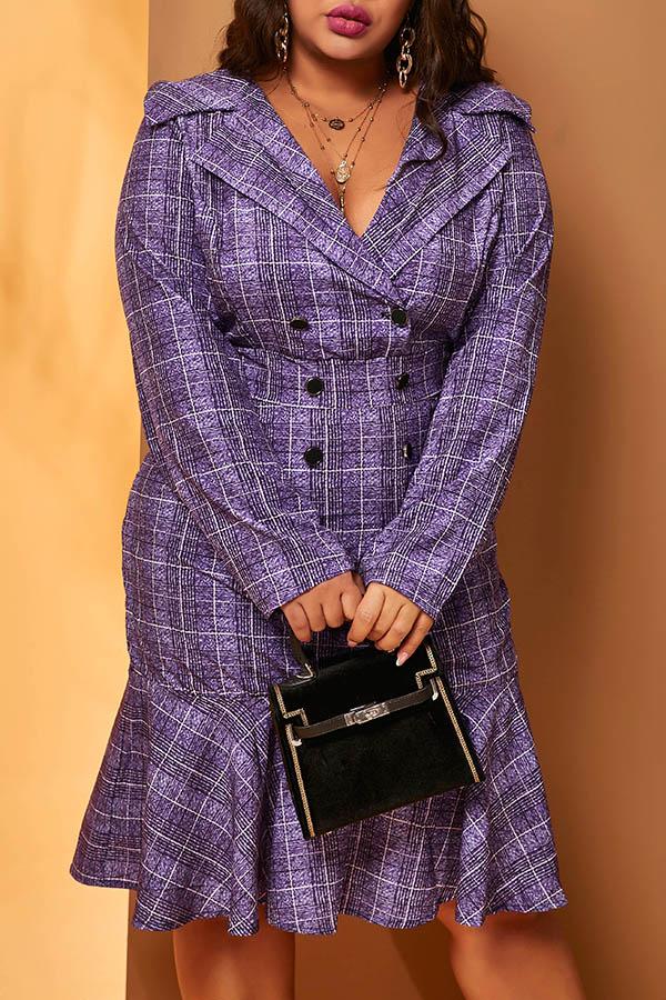 Lovely Work Plaid Print Purple Plus Size Trumpet Mermaid Dress