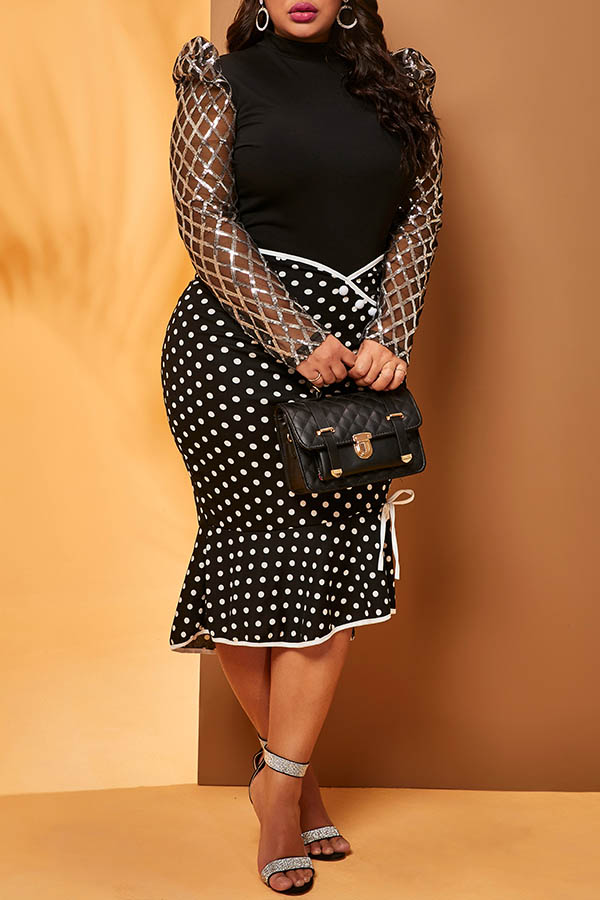 Lovely Casual Dot Black Plus Size Skirt
