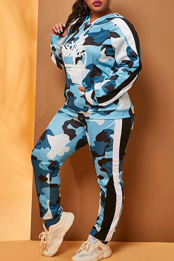 Lovely Casual Hooded Collar Camo Blue Plus Size Two-piece Pants Set