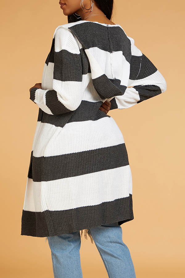 Lovely Casual Striped Dark Grey Cardigan