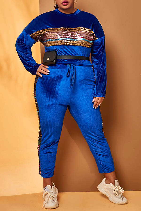 Lovely Casual Patchwork Blue Plus Size Two-piece Pants Set