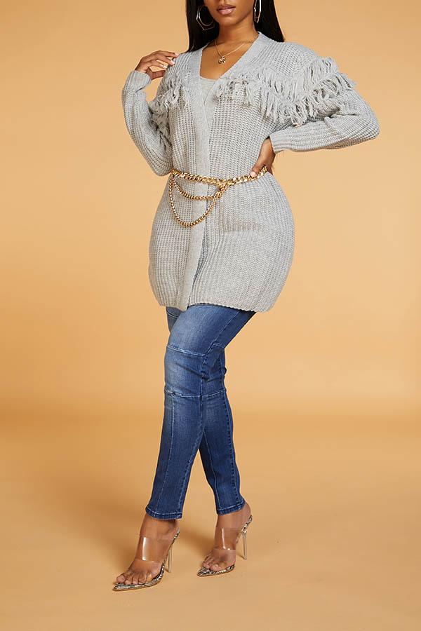 Lovely Chic Tassel Design Grey Cardigan