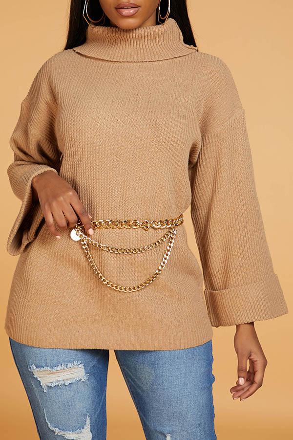 Lovely Casual Turtleneck Khaki Sweater