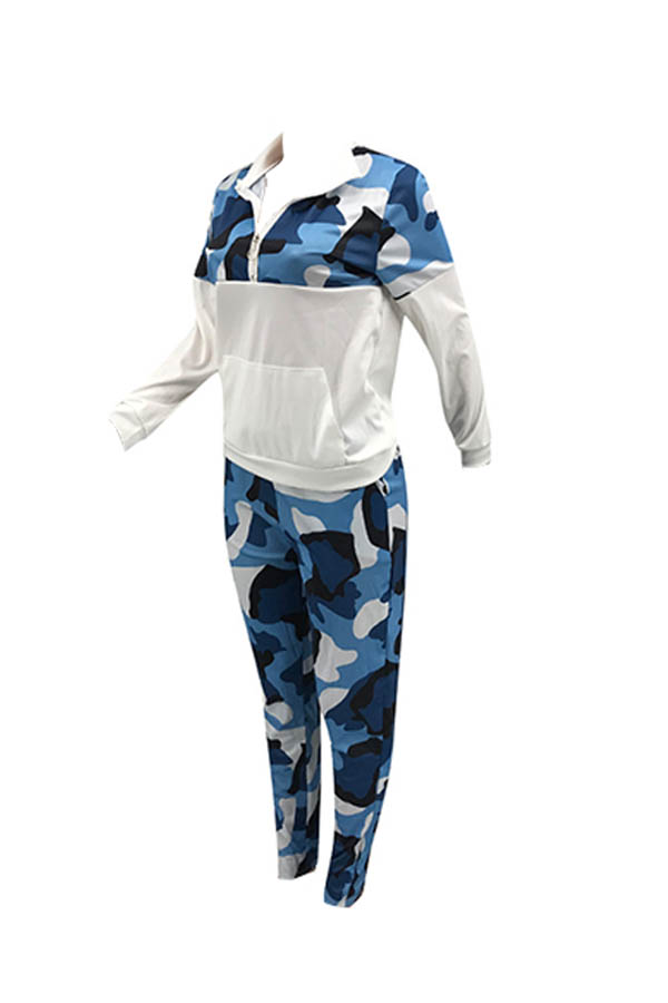 Lovely Trendy Camo Patchwork Blue Two-piece Pants Set