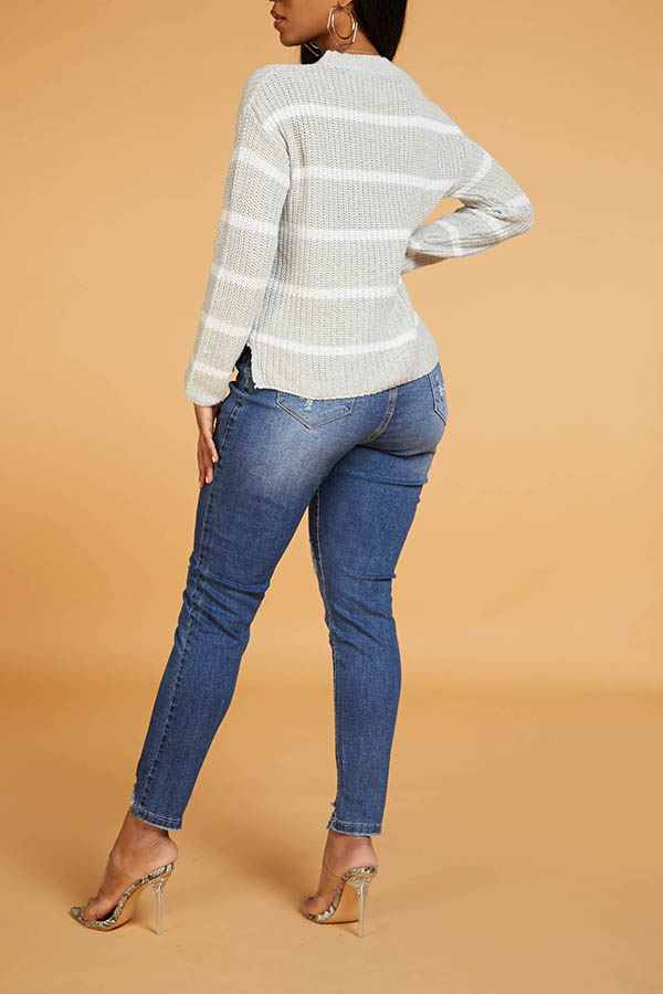 Lovely Chic Round Neck Striped Grey Sweater